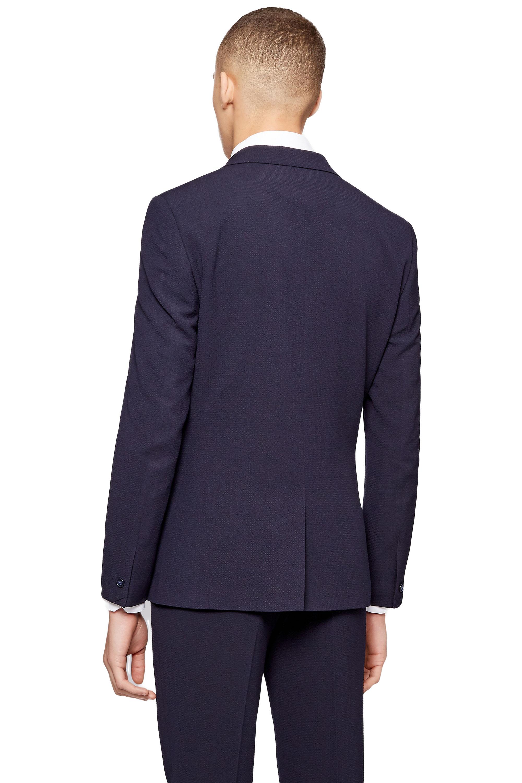 Moss London Mens Navy Blue Suit Jacket Skinny Fit Seersucker One ...