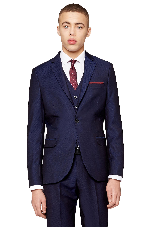 3f3f365edc82 Moss London Mens Navy Blue Suit Jacket Slim Fit Jacquard One Button Blazer