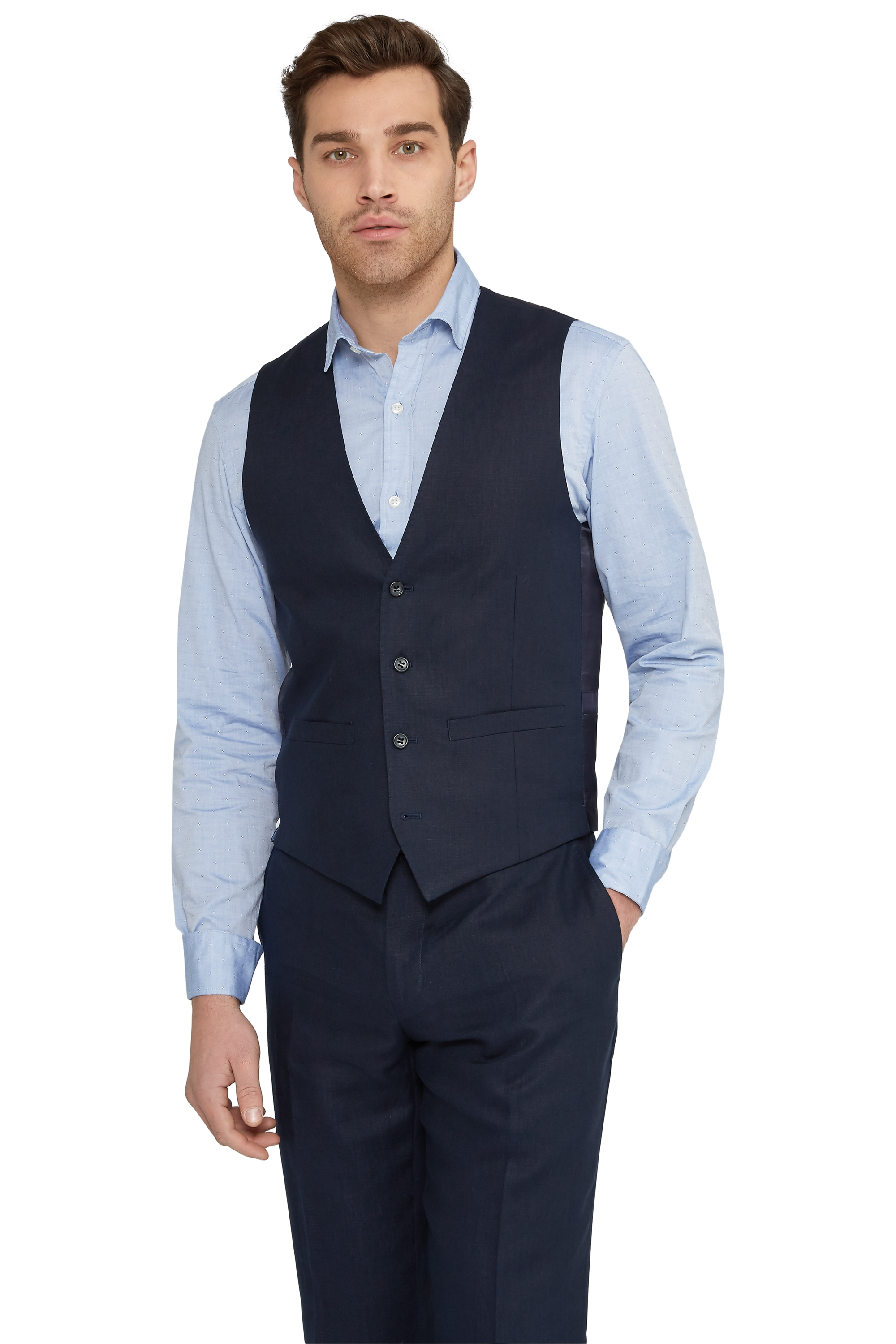 Moss 1851 Mens Navy Blue Suit Waistcoat Tailored Fit Four Button ...