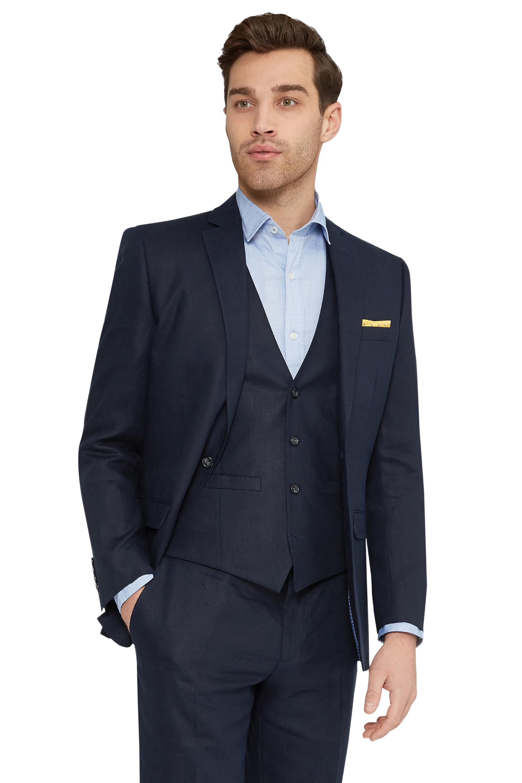 Moss 1851 Mens Navy Blue Suit Jacket Tailored Fit Linen