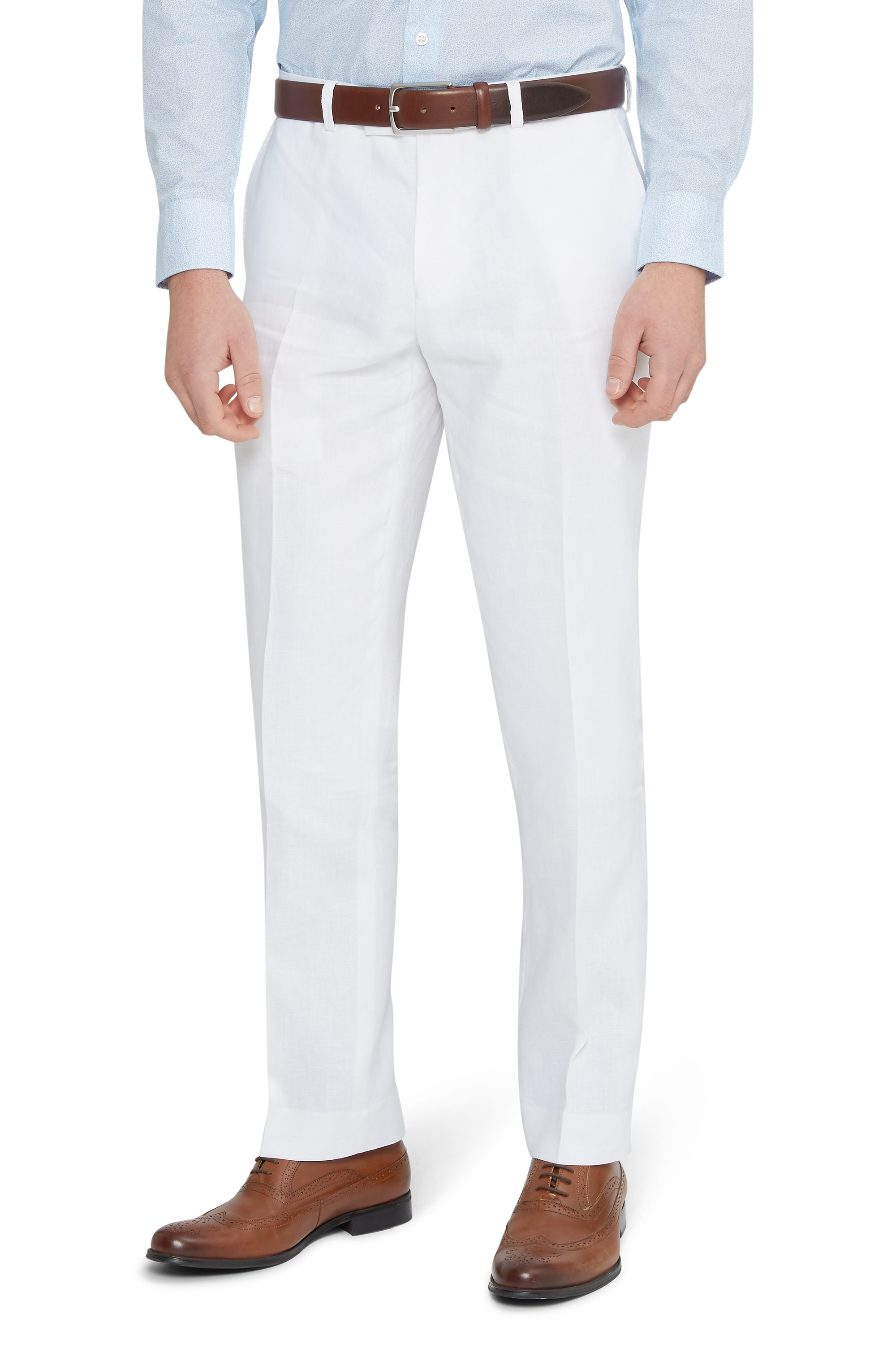 Moss 1851 Mens White Suit Trousers Tailored Fit Linen Formal Pants ...