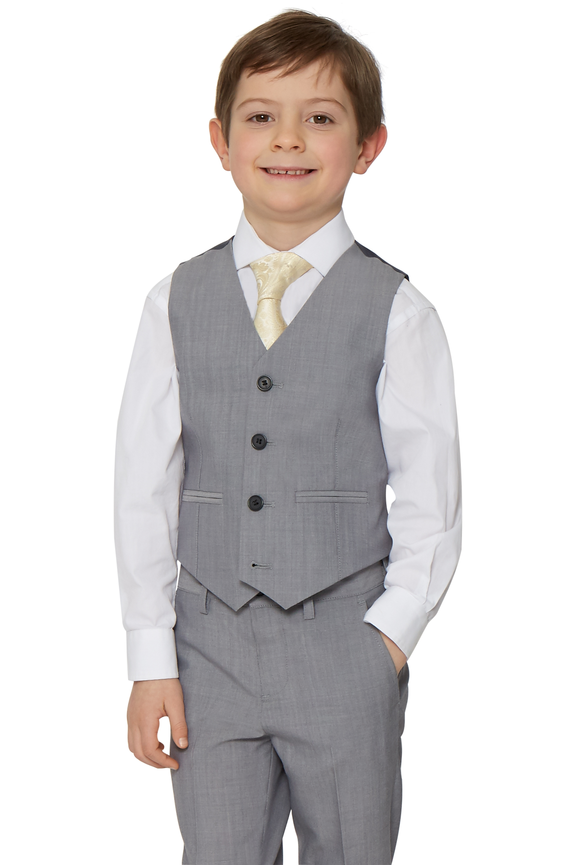 Silver Waistcoat French 2 Connection Boys Pockets Kids Formal Grey H2WIYED9