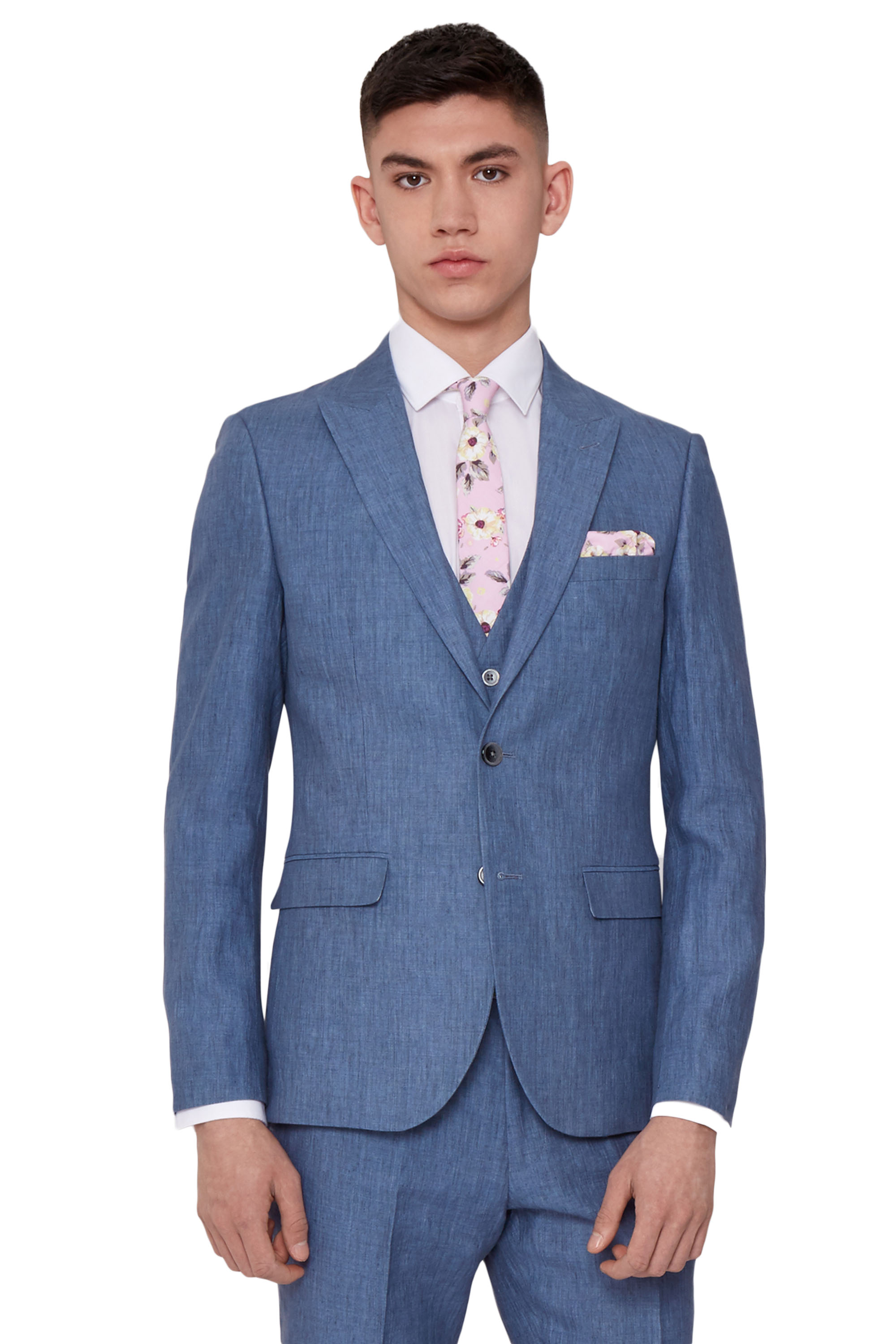 Moss London Mens Sky Blue Suit Jacket Slim Fit Linen 2 Button Formal ...