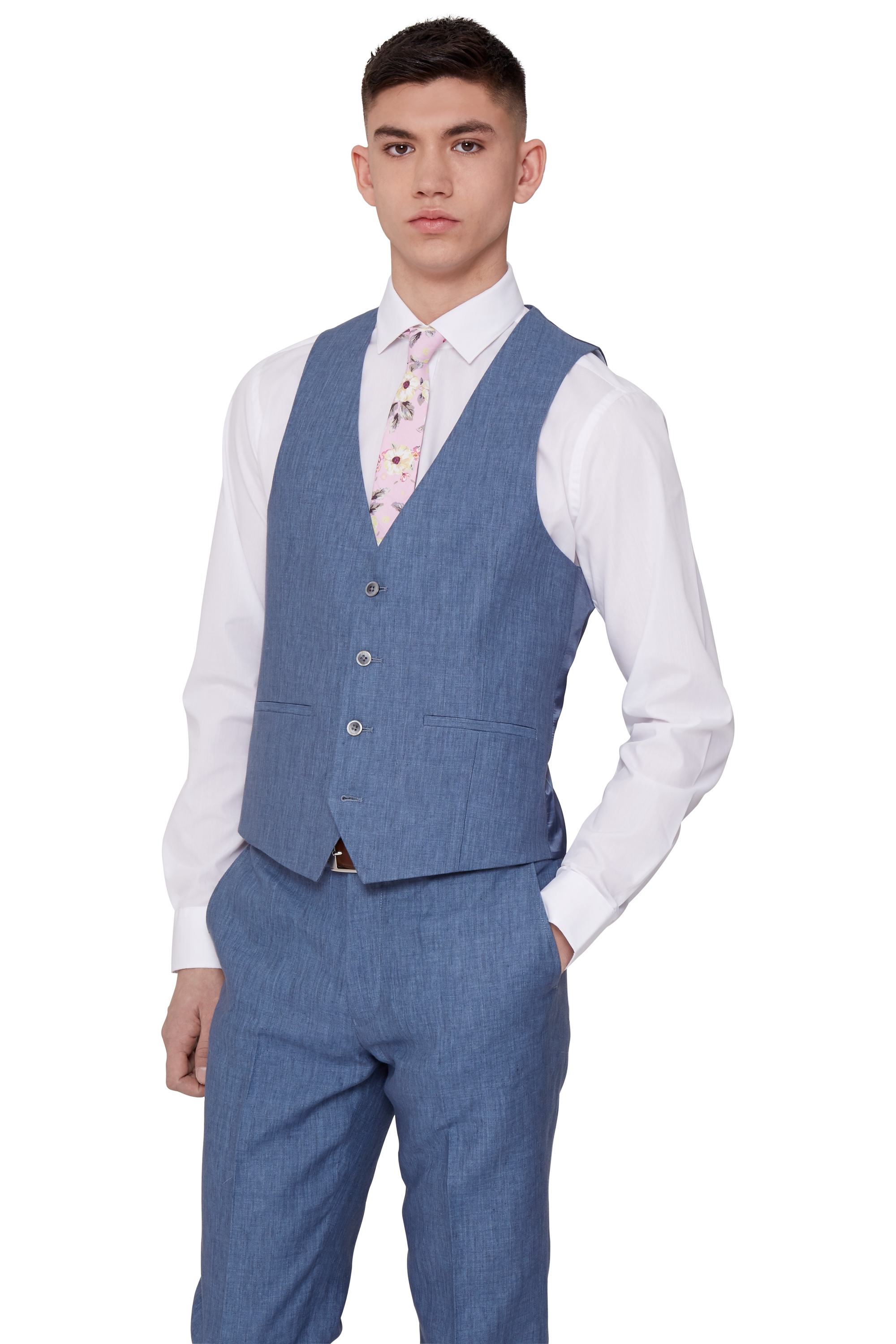 Moss London Mens Sky Blue Waistcoat Slim Fit Linen Four Button ...
