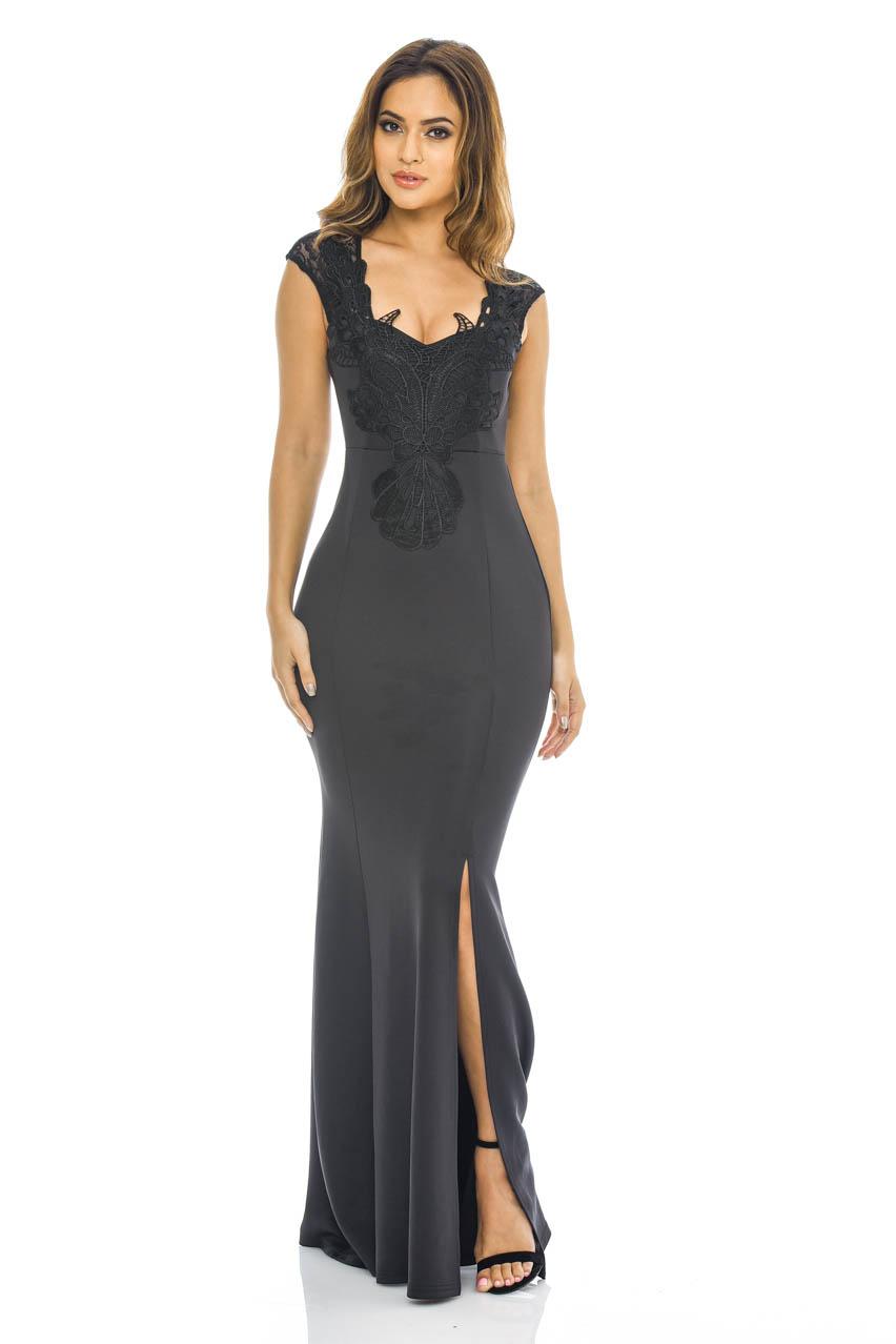 c38f7d55615 Details about AX Paris Womens Crochet Detail Lace Maxi Dress