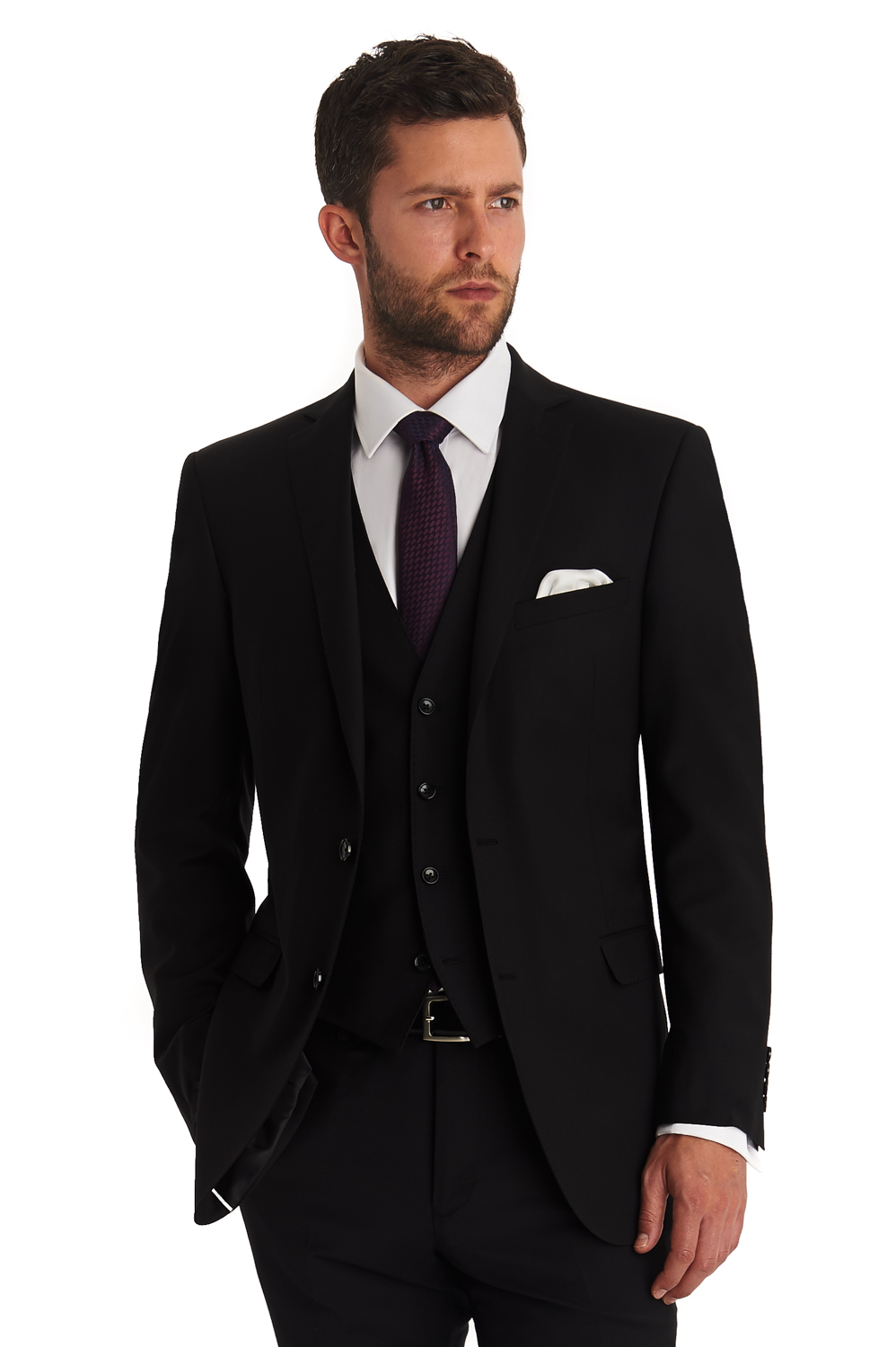 cf6bf2ab859cc Details about Moss 1851 Mens Black Suit Jacket Tailored Fit Single Breasted  Formal Blazer