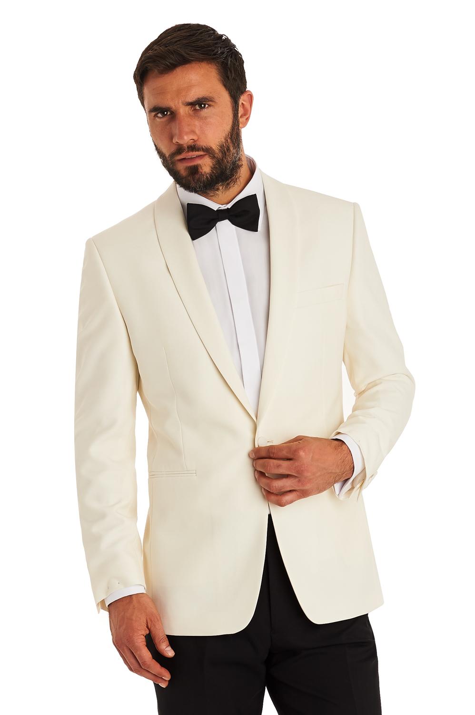 Moss Esq Mens White Suit Jacket Regular Fit Single