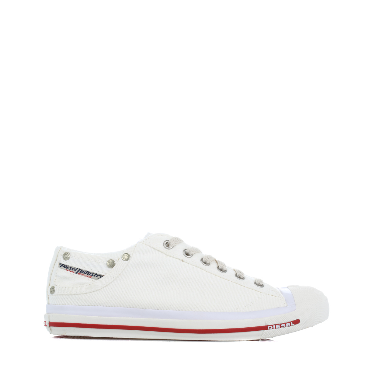 Diesel Exposure Low Men Bright White Red Lace Up Textile Canvas Trainers ff6f2f25b7d