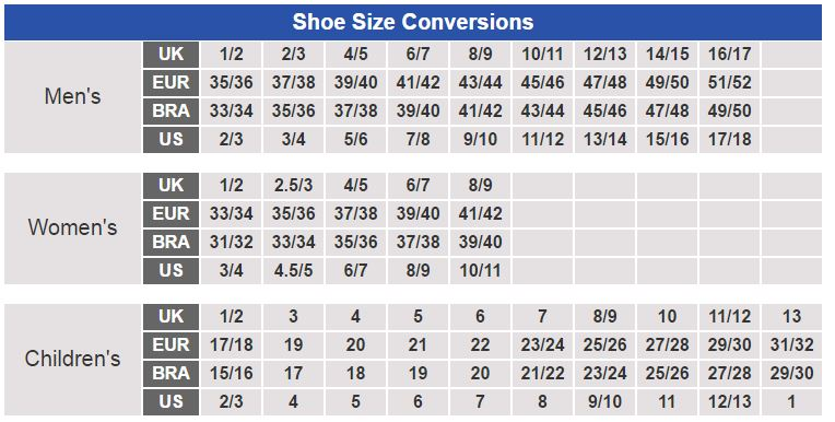 International Shoe Size Chart Womens