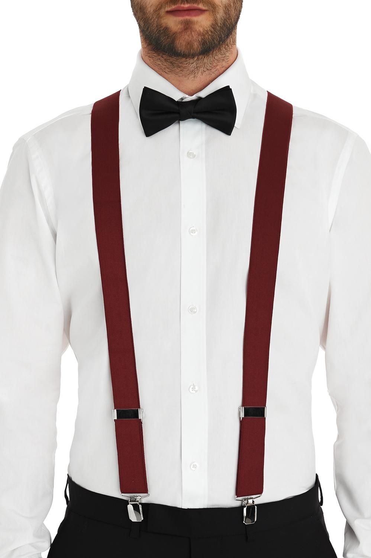 5ef4090788d Moss 1851 Mens Red Clip On Braces X Shape Adjustable Elastic Suspenders