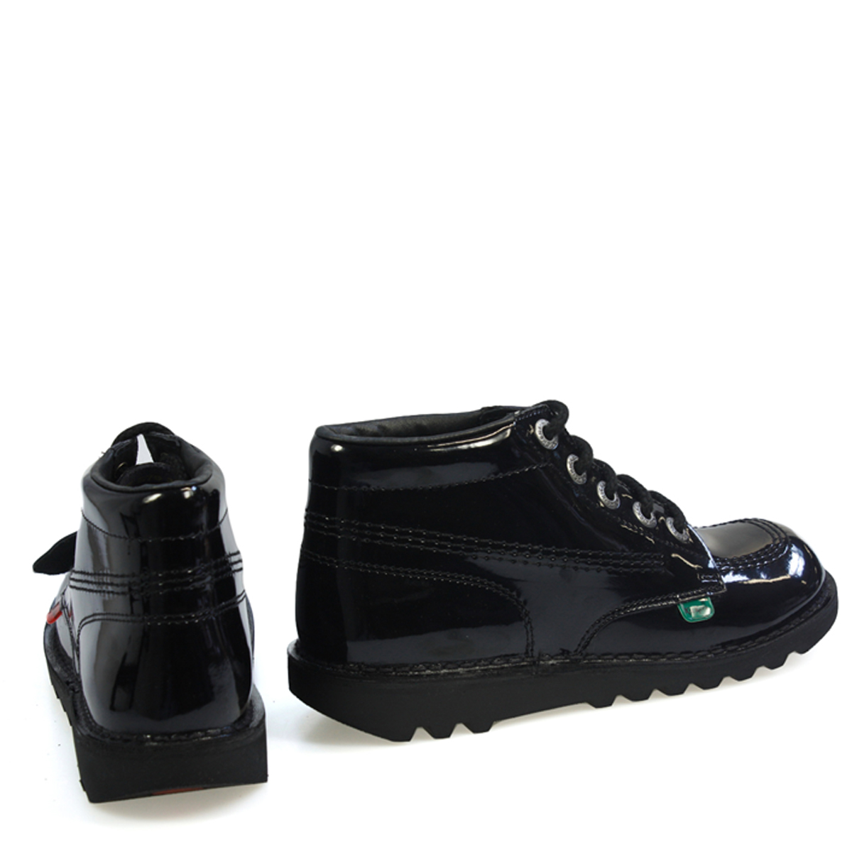 Kickers-Kick-Hi-Womens-Black-Patent-Leather-Boots-Lace-Up-Ladies-Ankle-Shoes