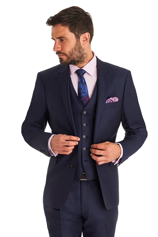 069c8075e5ce Ermenegildo Zegna Mens Blue Suit Jacket Regular Fit Wool Formal Blazer