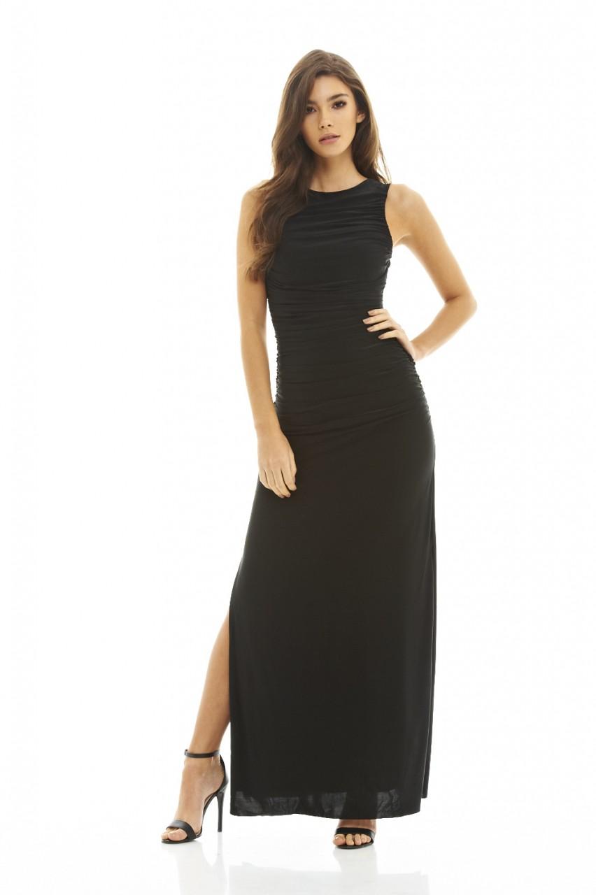 AX Paris Womens Black Ruched Maxi Dress ce7eece245