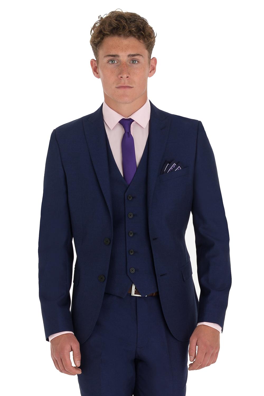 6d8522f6 Moss London Mens Navy Suit Jacket Slim Fit Blue Sharkskin Formal ...