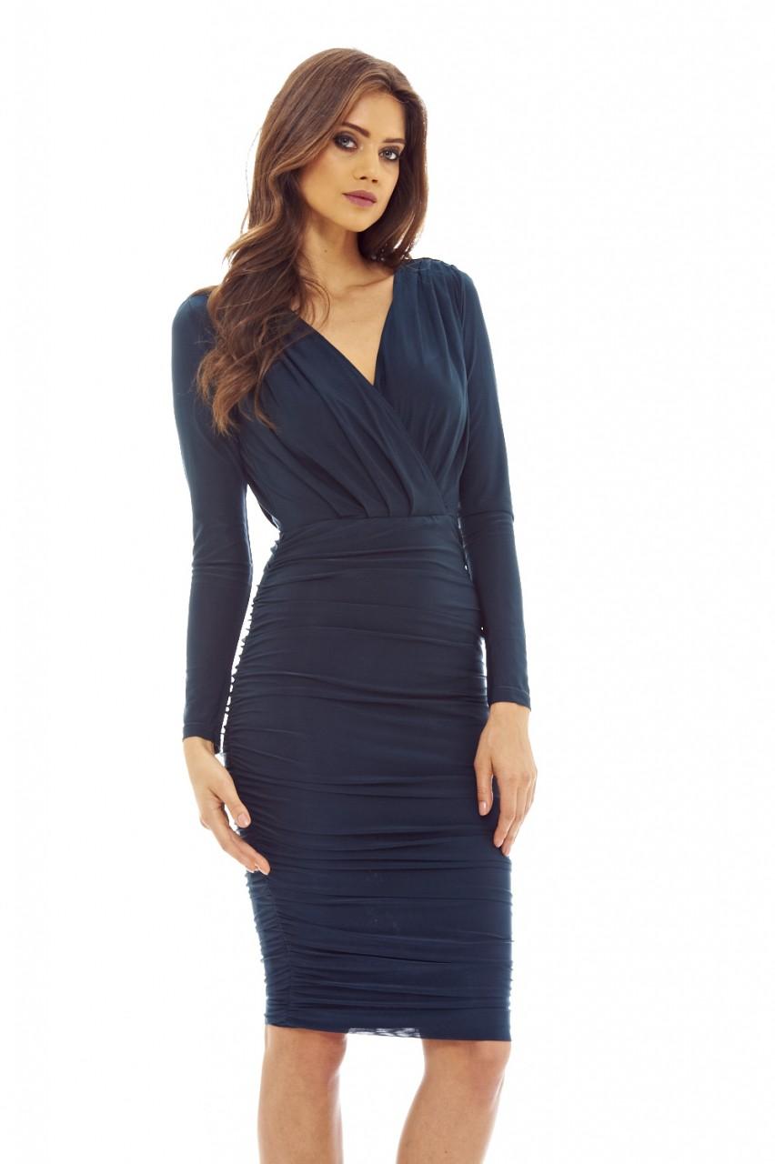 cd6b1f627e57 AX Paris Womens Teal Blue Bodycon Ruched Midi Dress