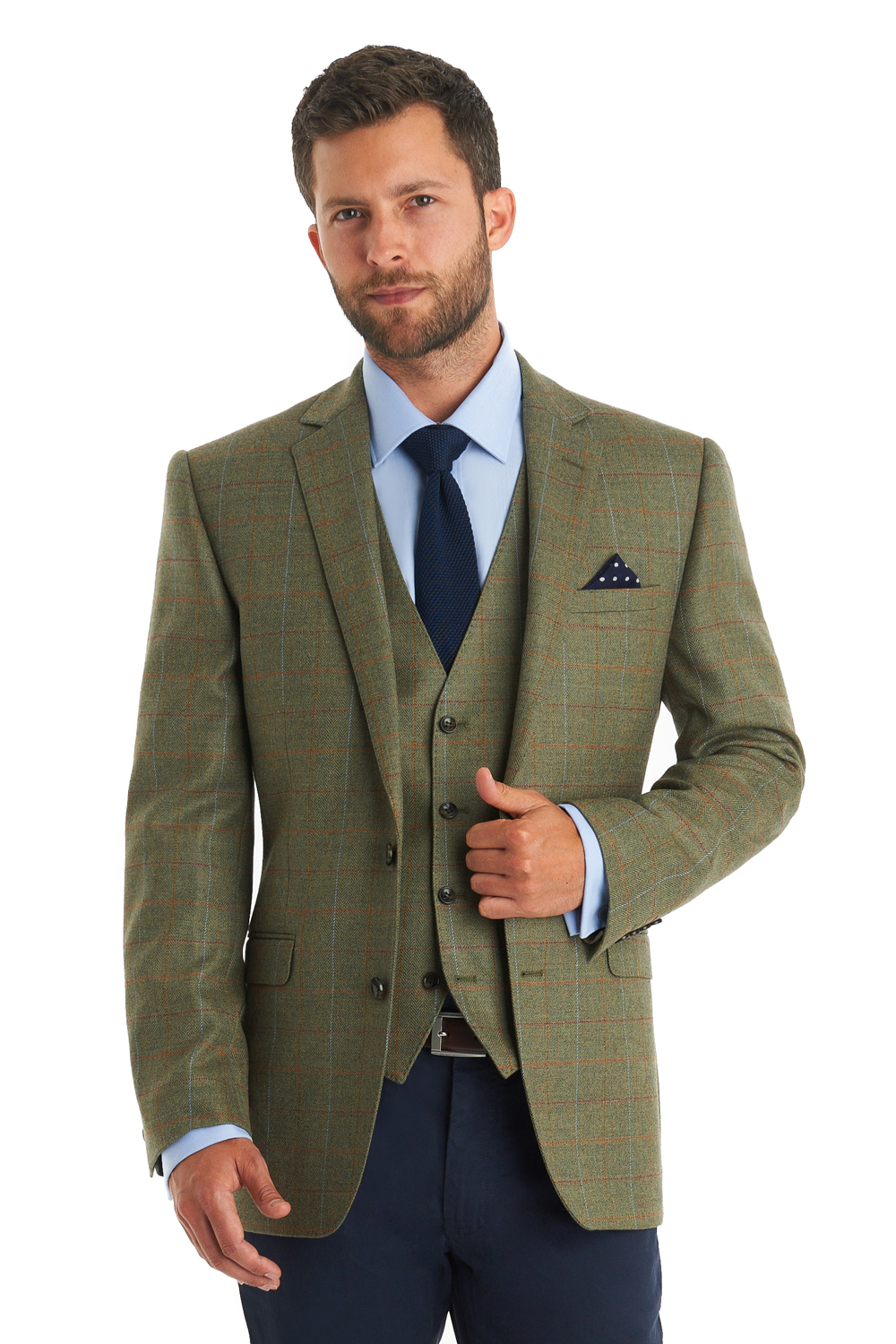 Moss 1851 Mens Check Green Suit Jacket Windowpane Tailored Fit ...