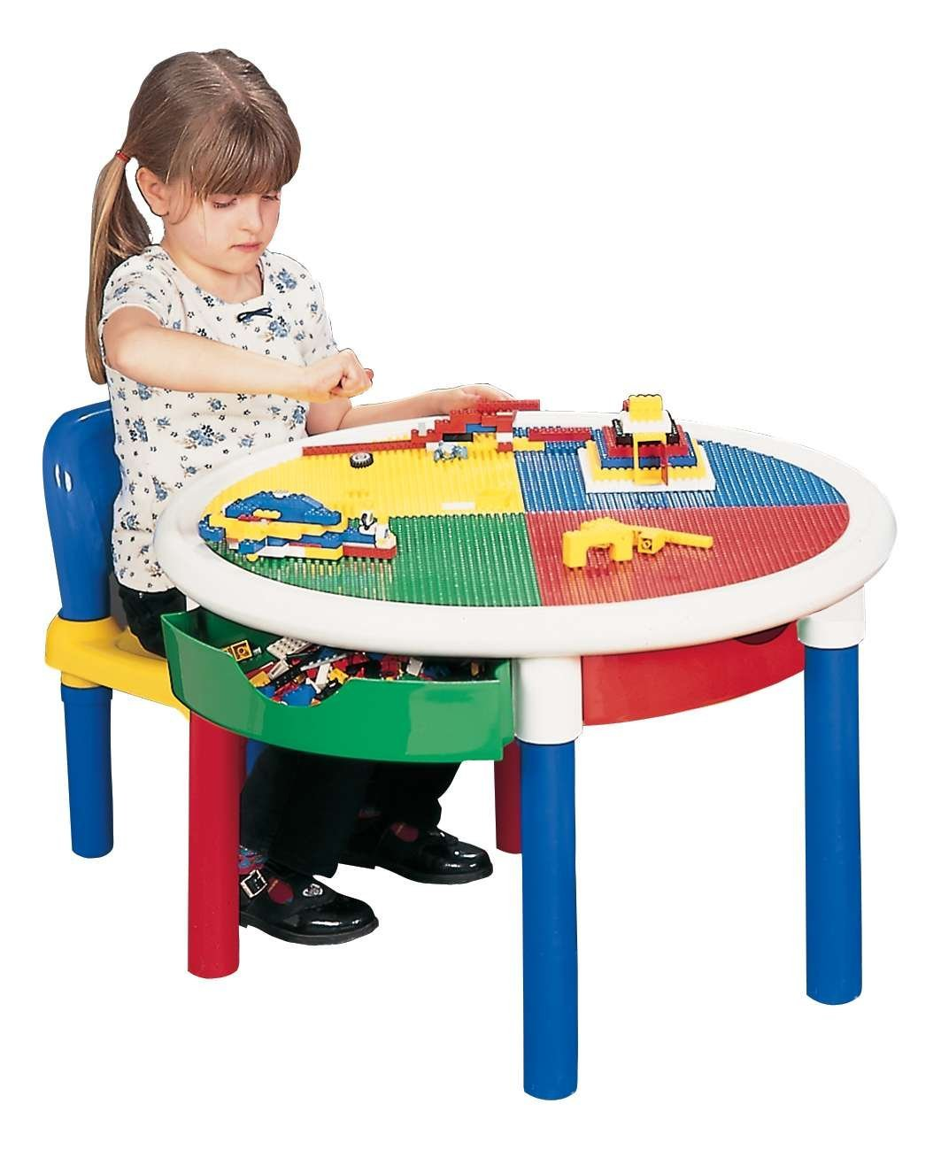 Sentinel Round 4 Drawer Activity Table No Chairs With Storage And Building Block Top
