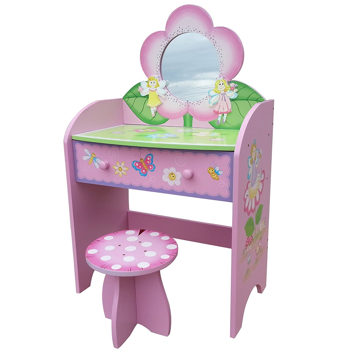 half off 483f5 cbc6e Details about Childrens Dressing Table Stool Wooden Vanity Desk Fairy  Bedroom Furniture