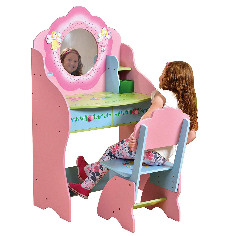 Sentinel Childrens Dressing Table Chair Wooden Vanity Desk Fairy Bedroom Furniture