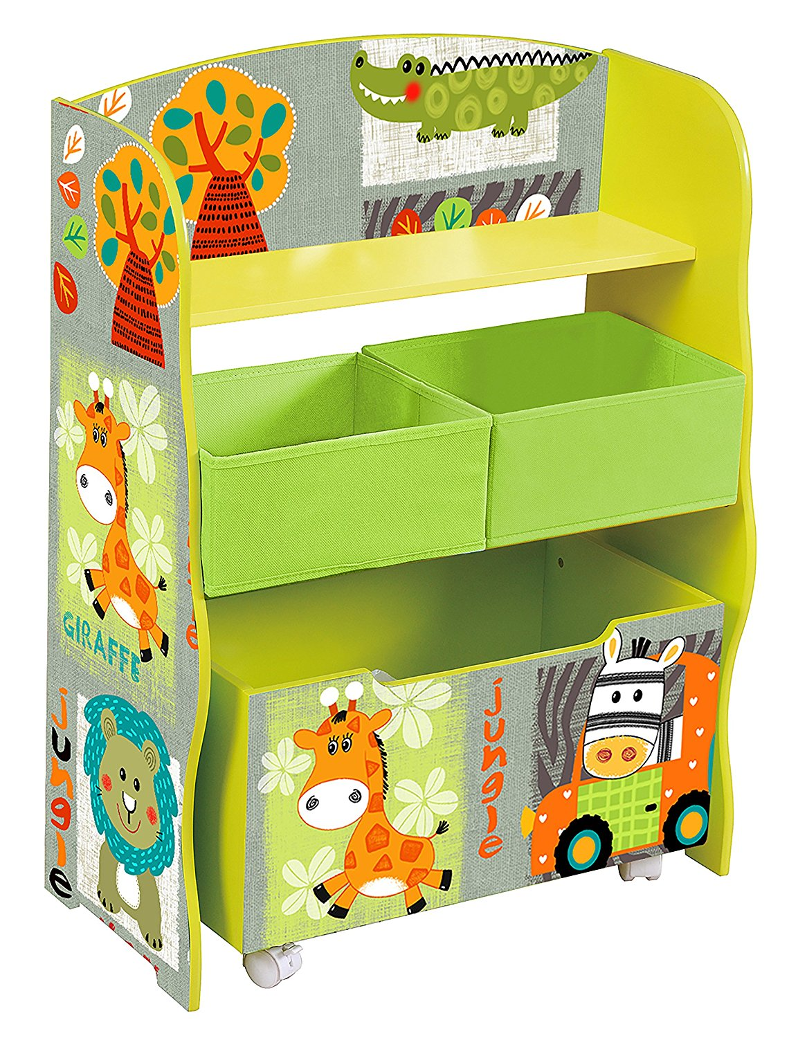 details about childrens storage unit toy box bookshelf wooden jungle safari