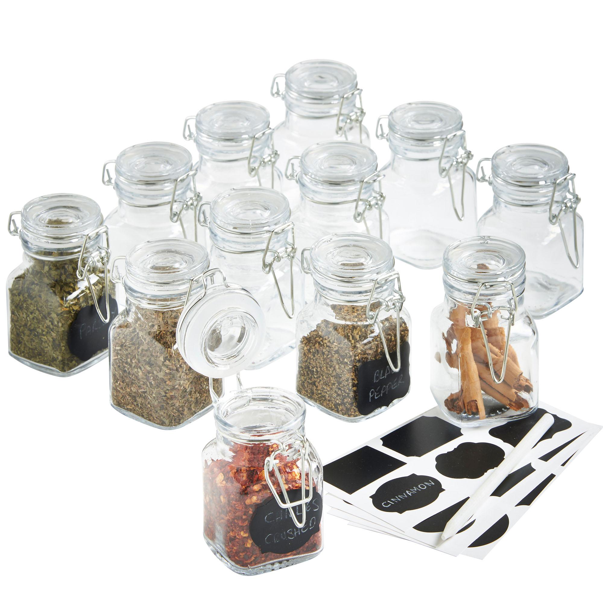 VonShef 12 x Mini Clip Top Airtight Seal Food Spice Storage Preserve