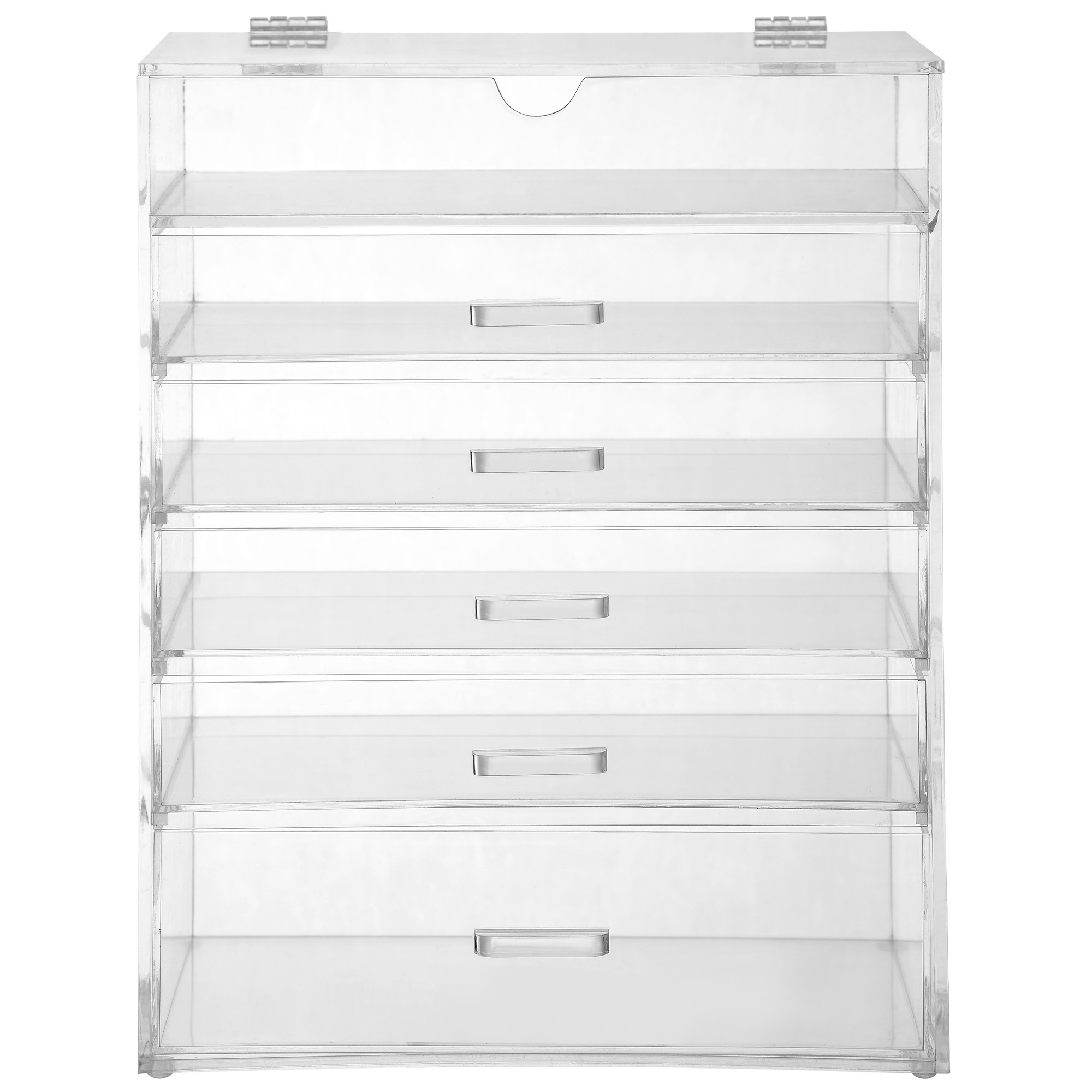 Sentinel Beautify 6 Tier Clear Acrylic Cosmetic Makeup Organiser Storage  Case   5 Drawers
