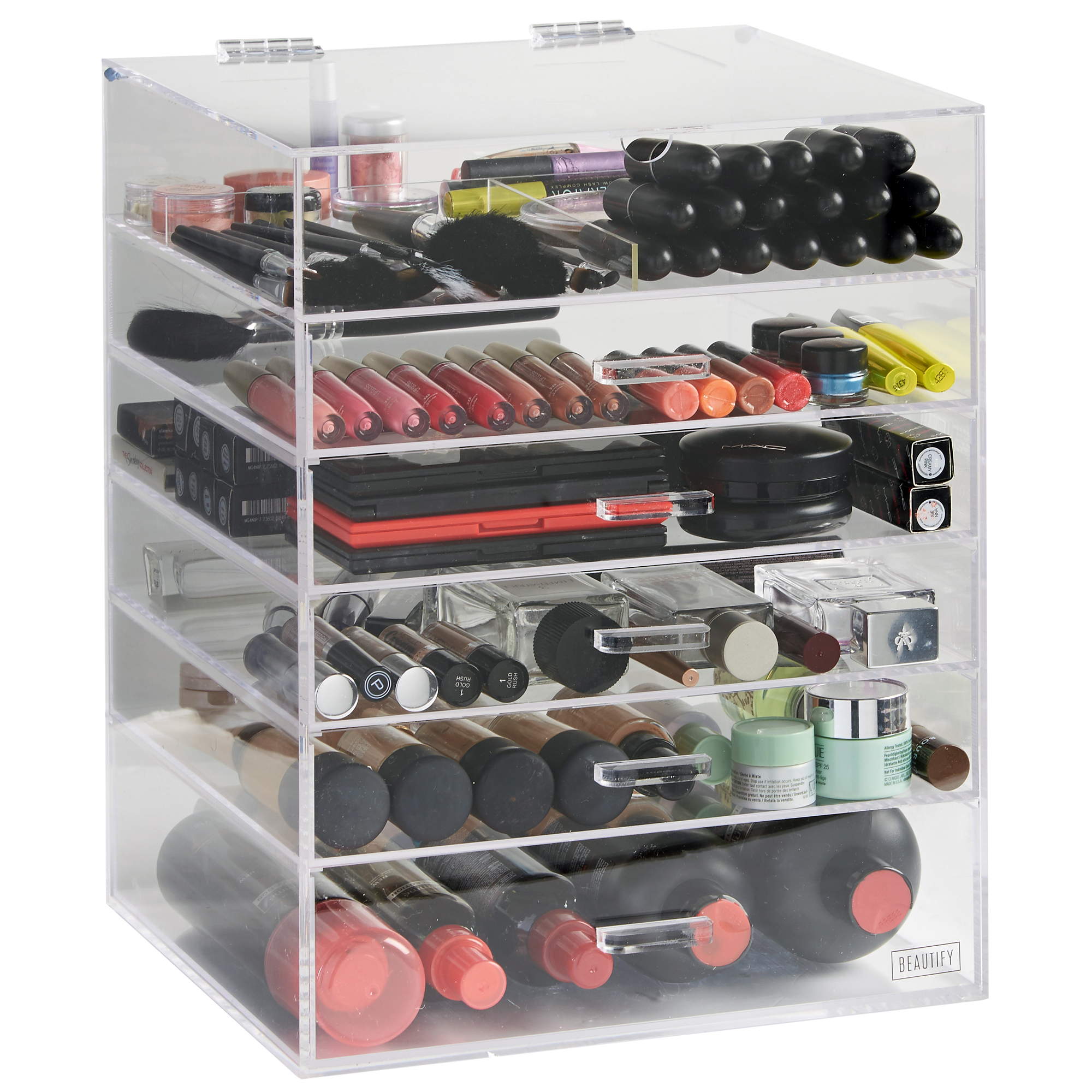 Sentinel Beautify Large 6 Tier Clear Acrylic Cosmetic Makeup Organiser Case  - 5 Drawers