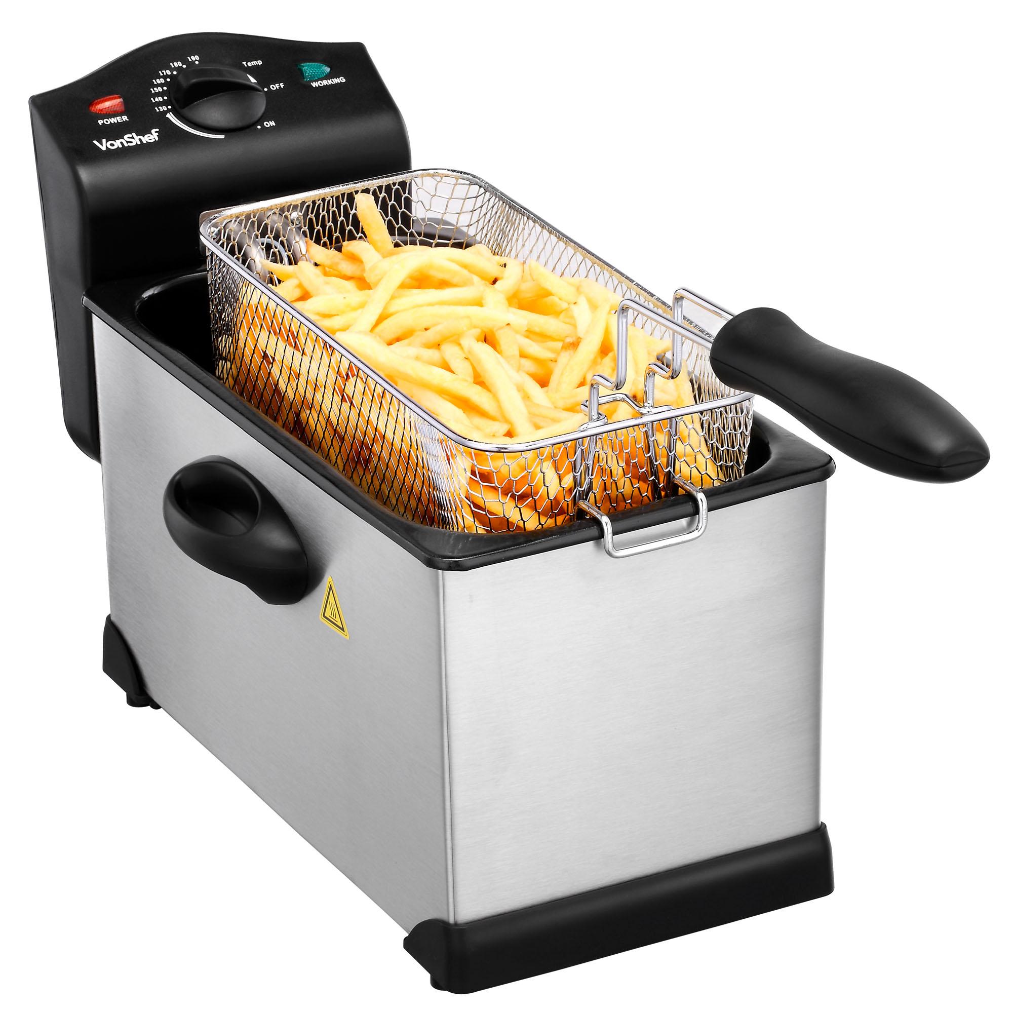 Vonshef Fat Fryer Deep 3 Litre Chip Pan Basket Fry