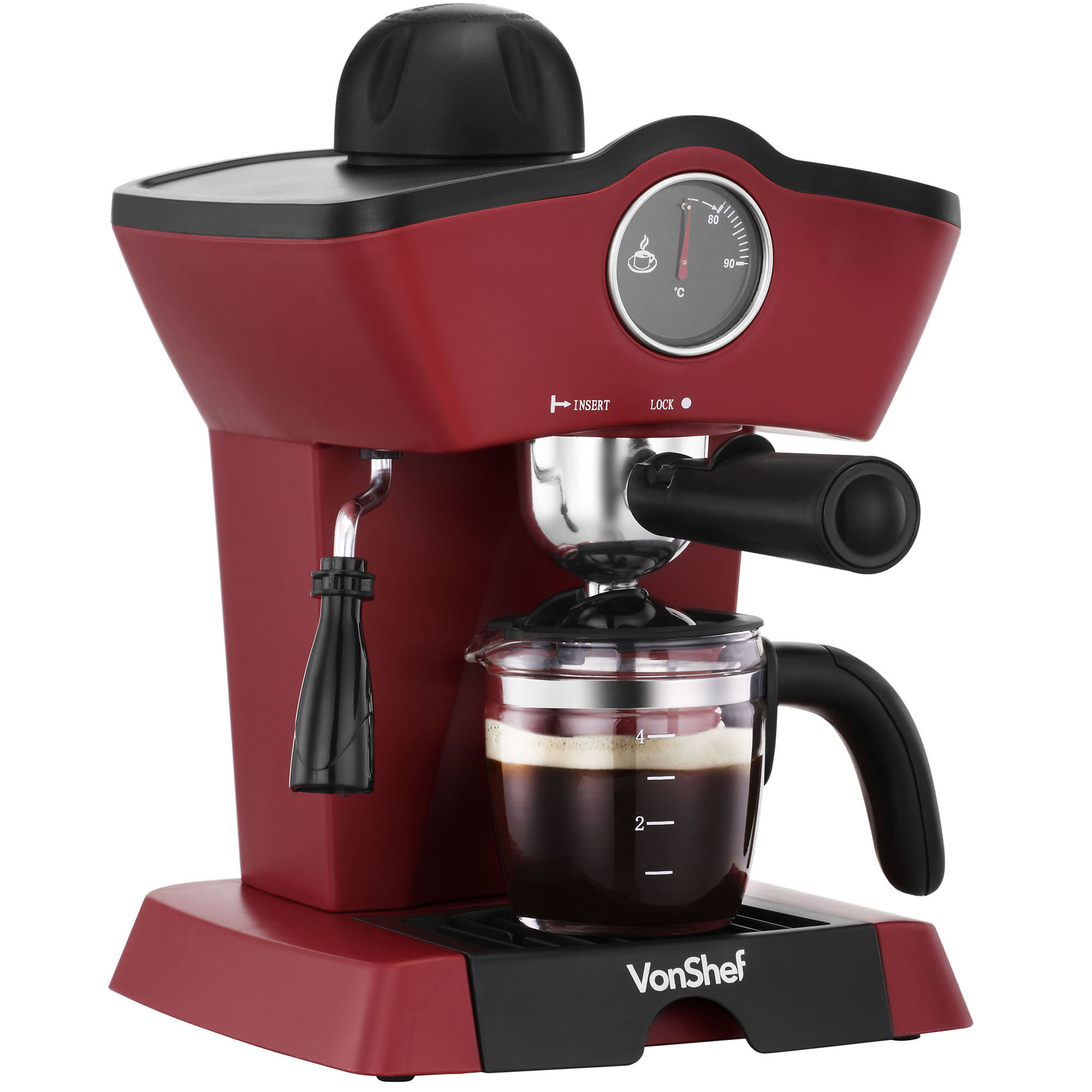 vonshef 4 bar espresso cappuccino latte barista coffee maker machine red black 5060351498197. Black Bedroom Furniture Sets. Home Design Ideas