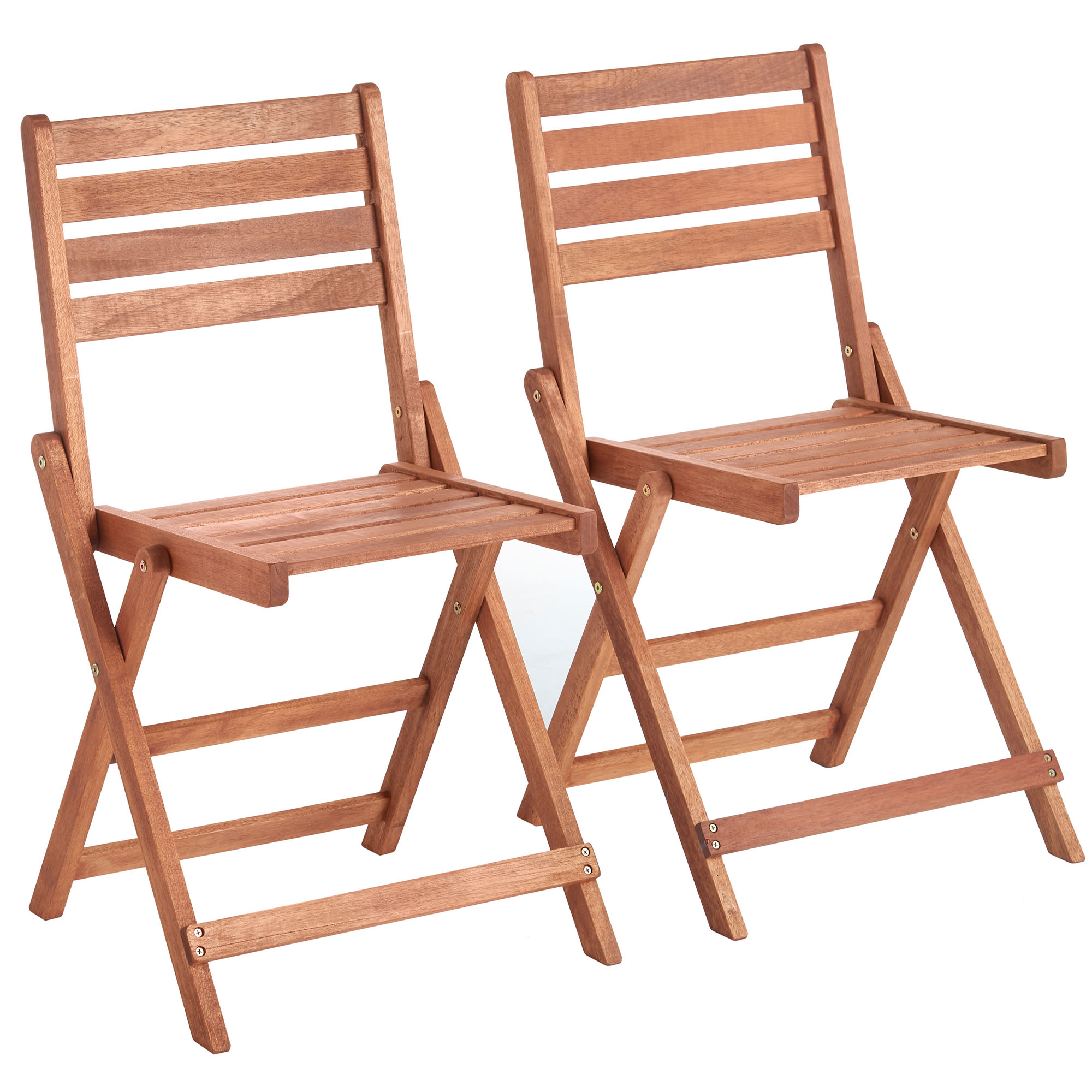 VonHaus Set of 2 Folding Wooden Garden Chairs