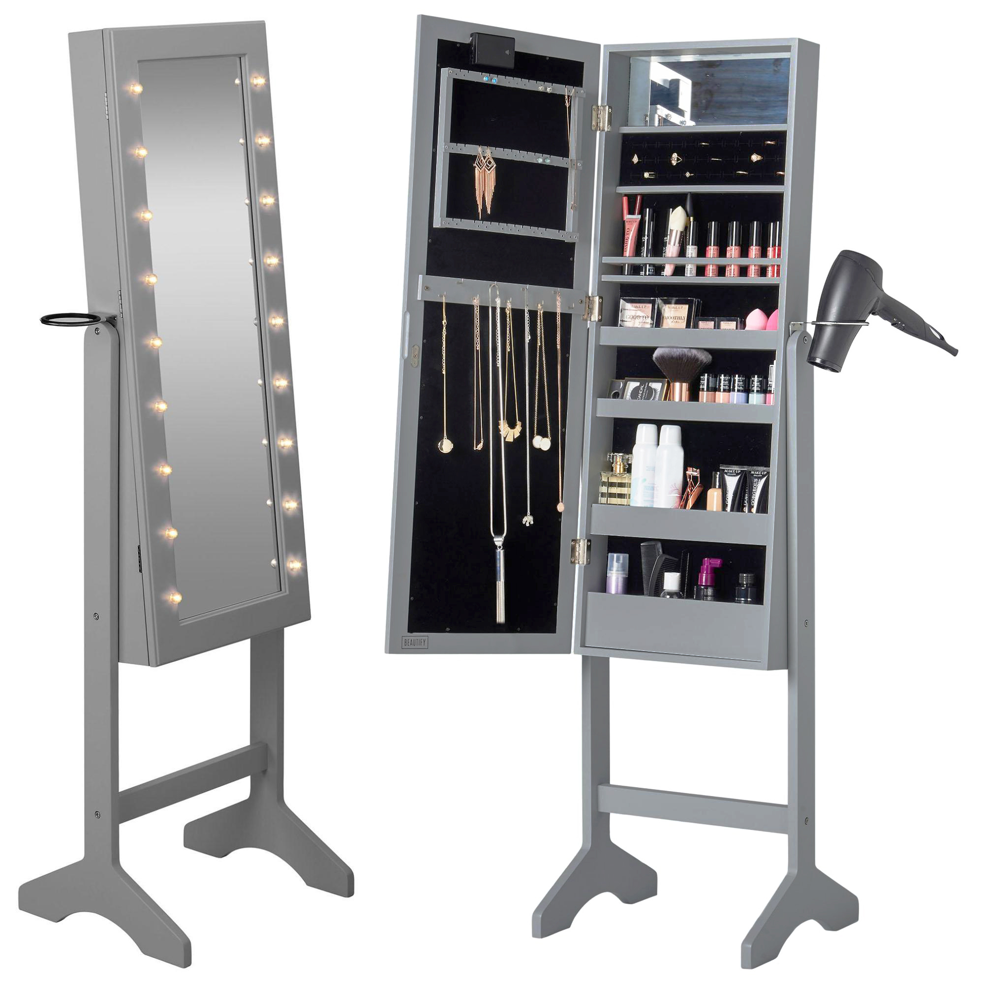 Beautify Grey Floor Standing Make Up Jewellery Organiser Led Full Mirror  Cabinet