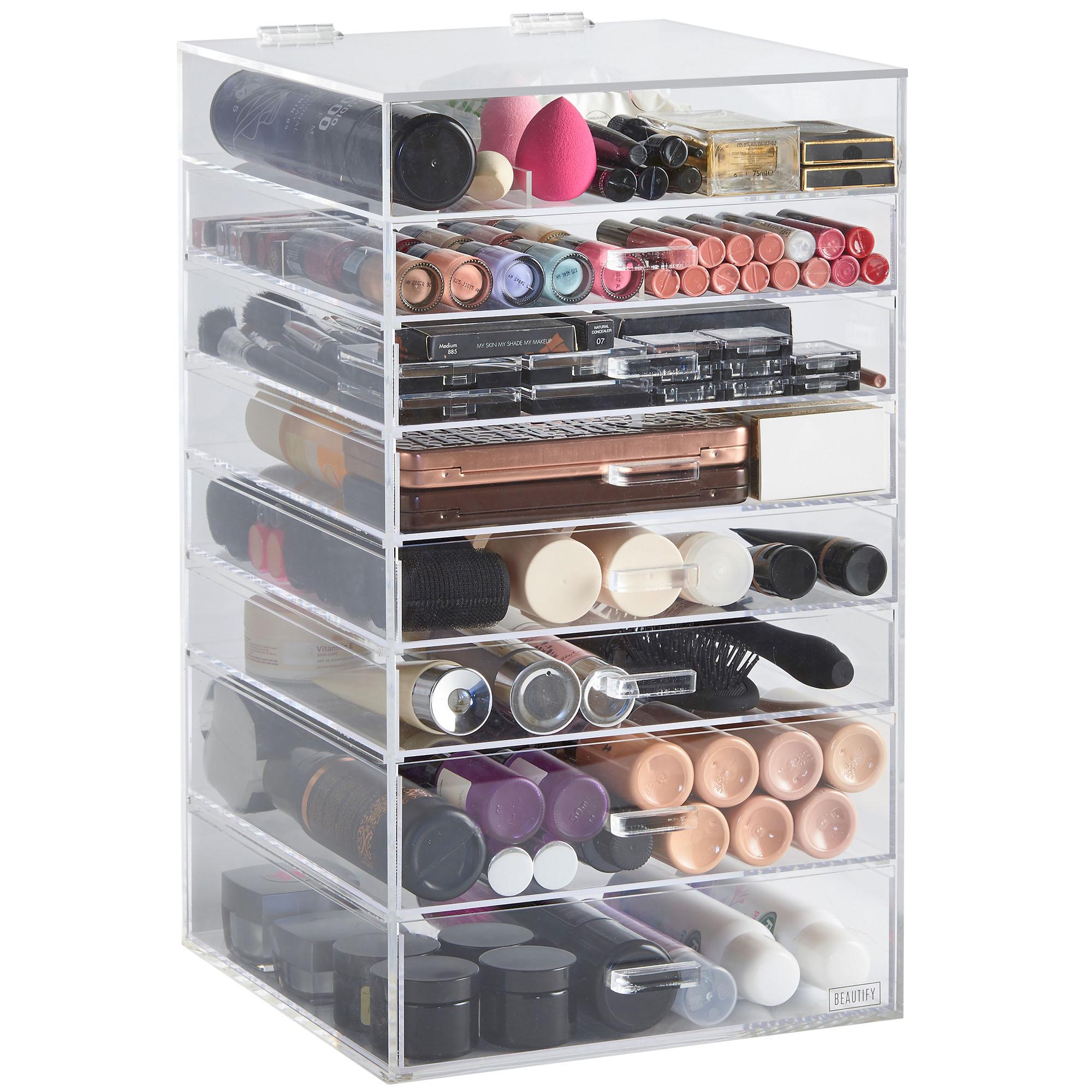Sentinel Beautify  Tier Clear Acrylic Cosmetics Makeup Storage Display Organiser Drawers
