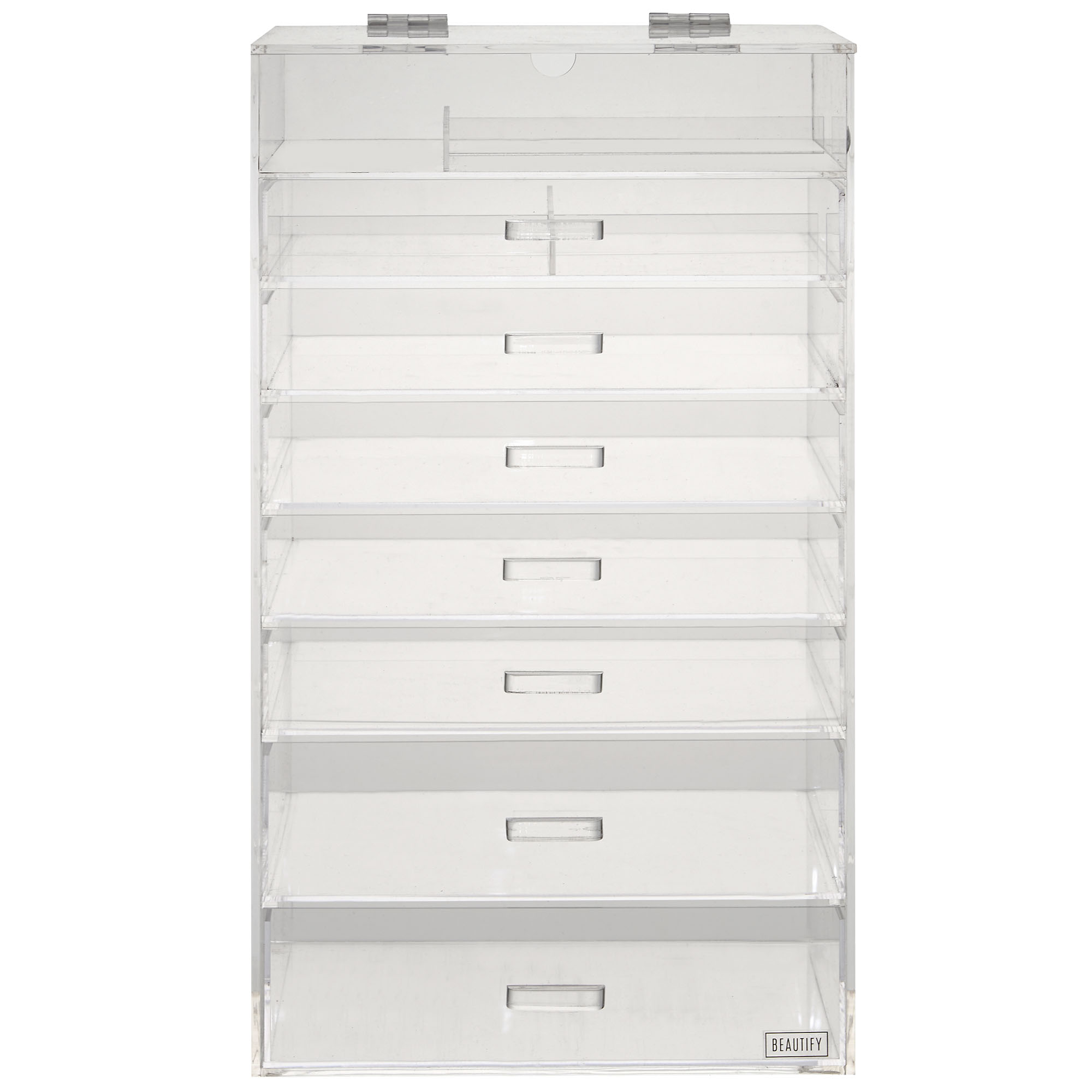 Beautify Tier Clear Acrylic Cosmetics Makeup Storage Display - Acrylic cube makeup organizer with drawers
