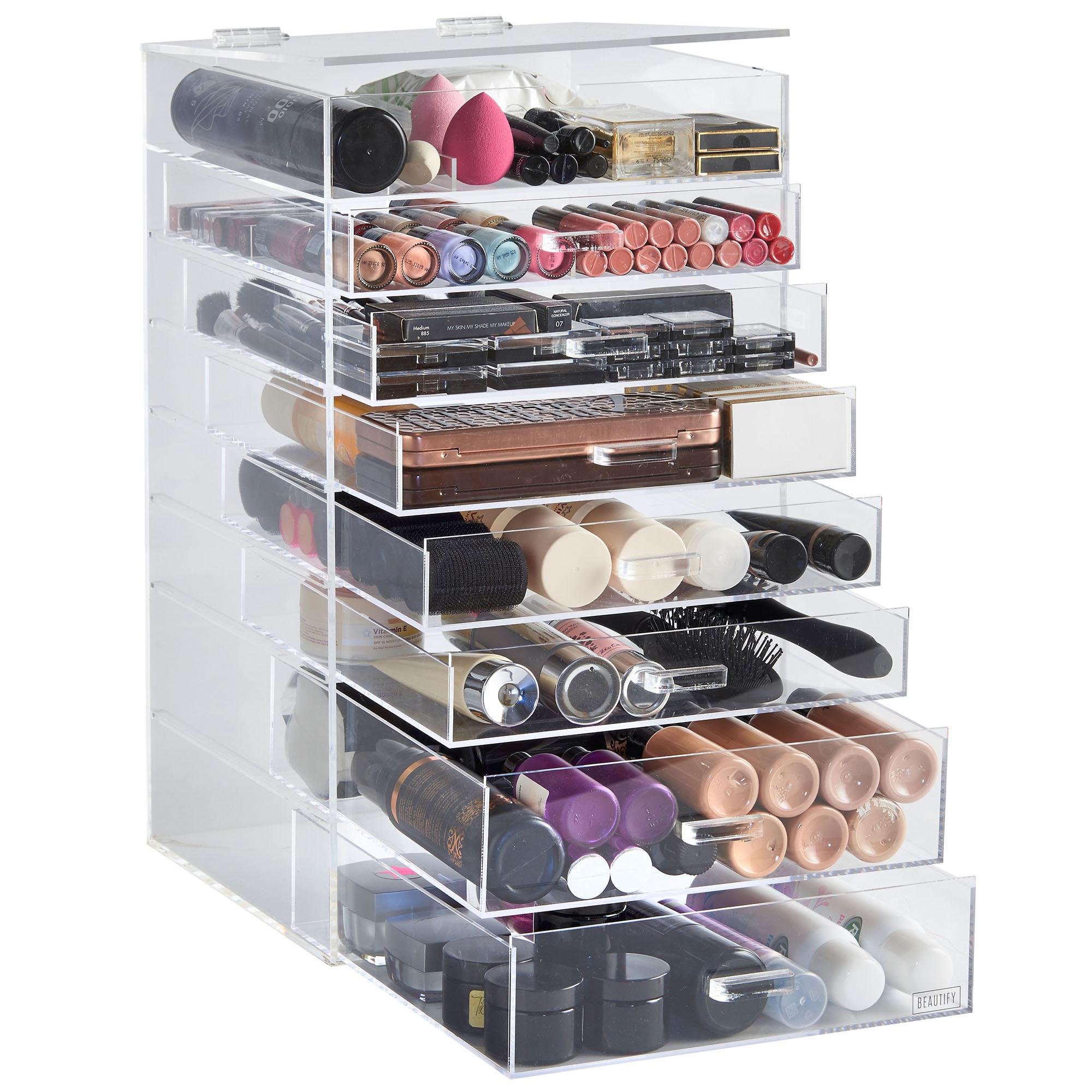 Sentinel Beautify 8 Tier Clear Acrylic Cosmetics Makeup Storage Display  Organiser Drawers