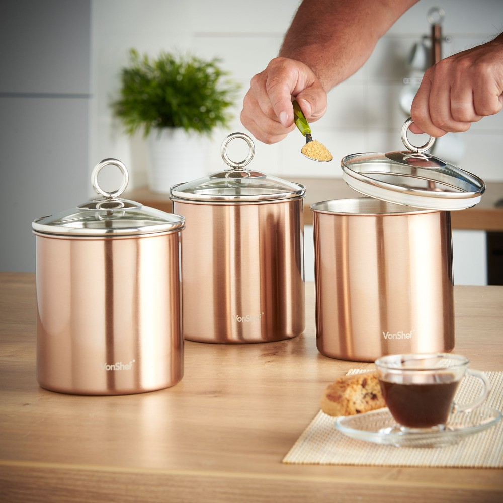 Vonshef set of 3 copper tea coffee sugar canisters kitchen for Kitchen set 3 meter