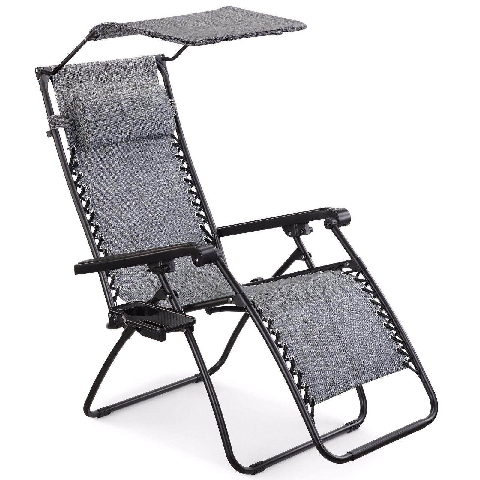 Vonhaus Textoline Zero Gravity Chair Canopy Sun Lounger