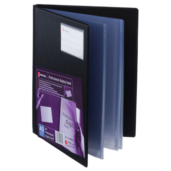 Rexel 40 pockets professional a4 display book with business card sentinel rexel 40 pockets professional a4 display book with business card holder pocket reheart Images