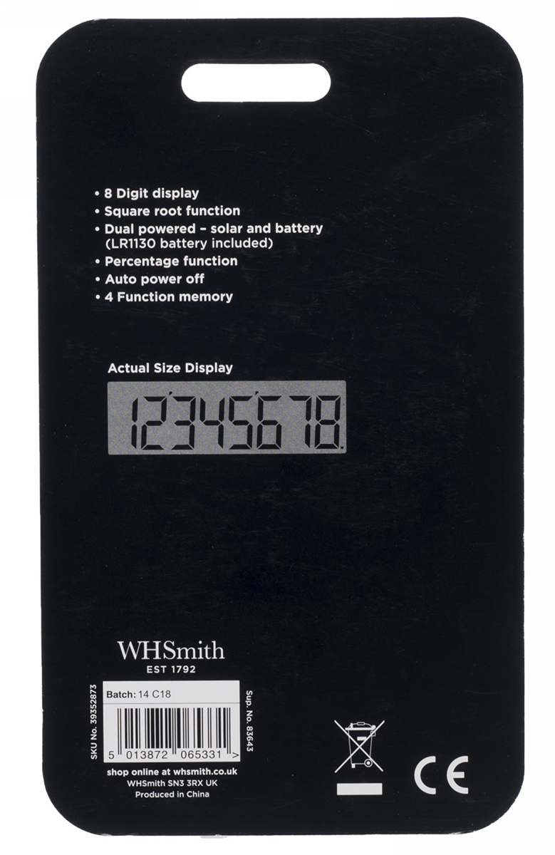 Whsmith Rose Gold Pocket Calculator With Four Function Memory Dual Auto Off Power Source Sentinel