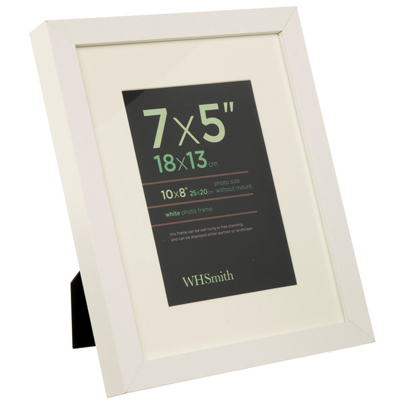 WHSmith Wooden Single Photo Frame White Picture Frame Size 7 x 5\