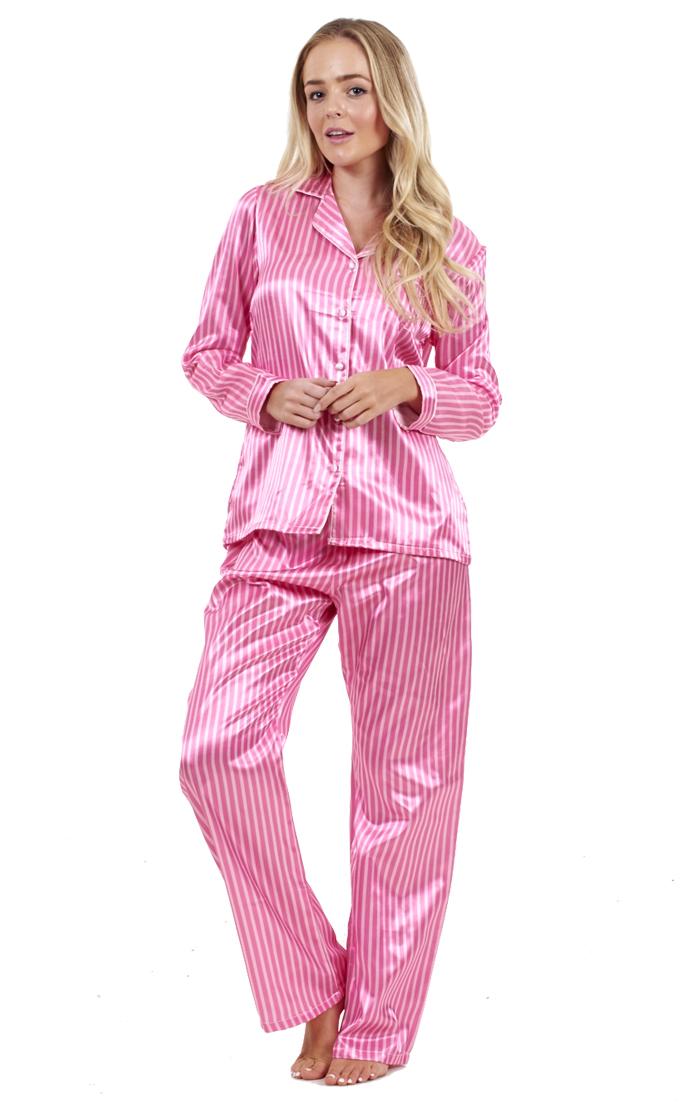 b56d408662 Sentinel Ladies Stunning Printed Satin Pyjamas Long Sleeve Nightwear Silk  PJ S