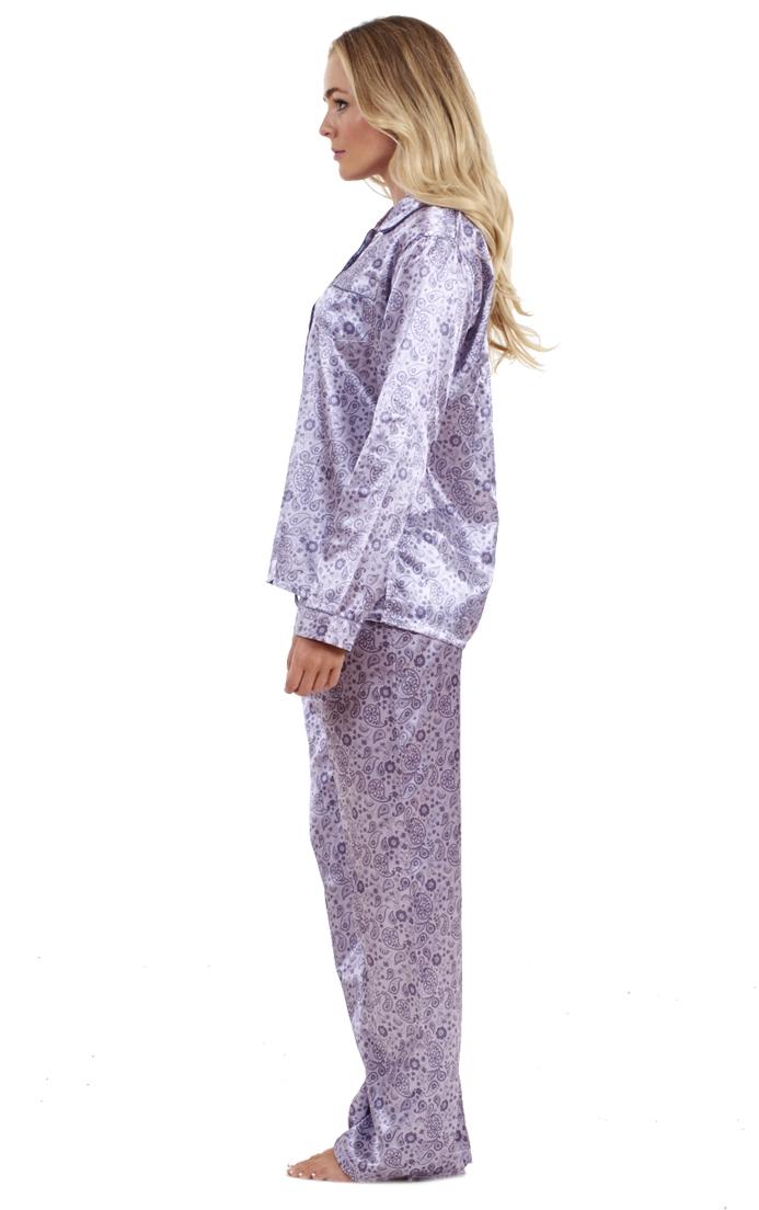 Details about Ladies Stunning Printed Satin Pyjamas Long Sleeve Nightwear  Silk PJ'S