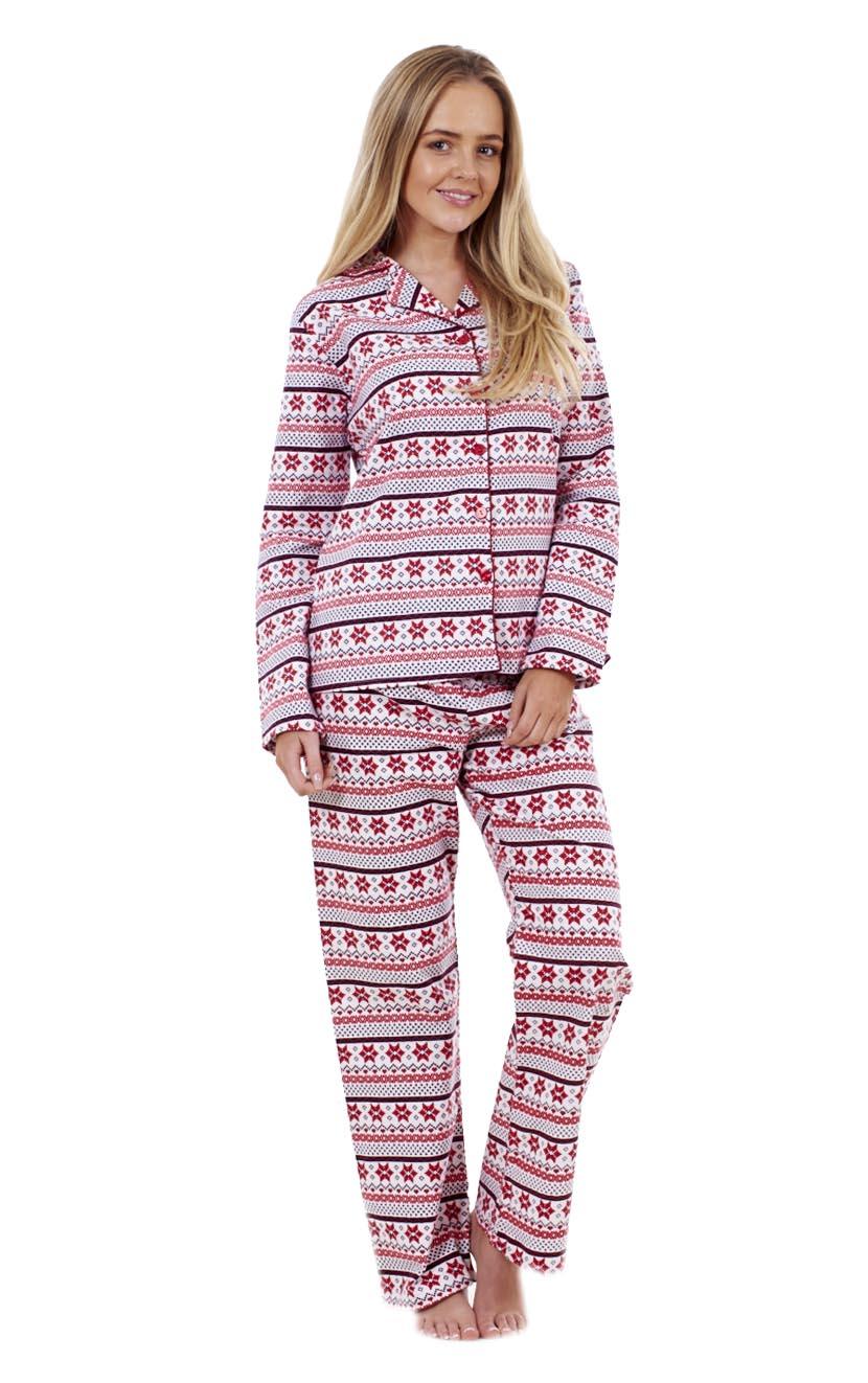 Ladies Nordic Print 100% Cotton Pyjamas Womens Christmas Long ...