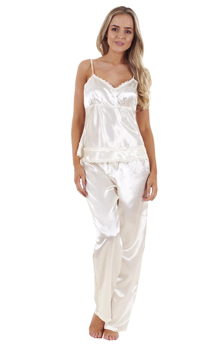 ladies 3 piece satin pyjama set womens vest lace shorts pj 39 s nightwear ebay On women nightwear
