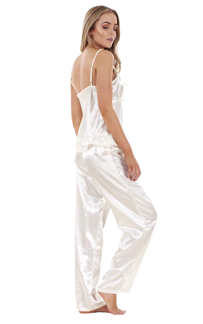 Details about Ladies 3 Piece Satin Pyjama Set Womens Vest Lace Shorts PJ S  Nightwear 945c3bdb8