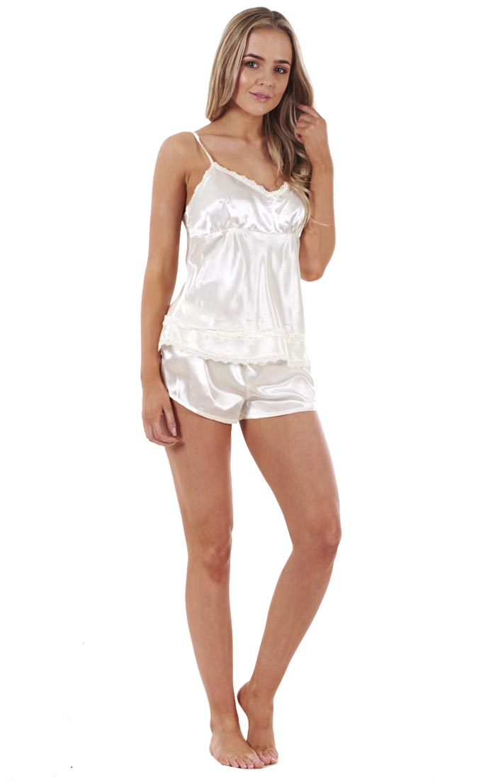 57dad18aaf7 Sentinel Ladies 3 Piece Satin Pyjama Set Womens Vest Lace Shorts PJ S  Nightwear