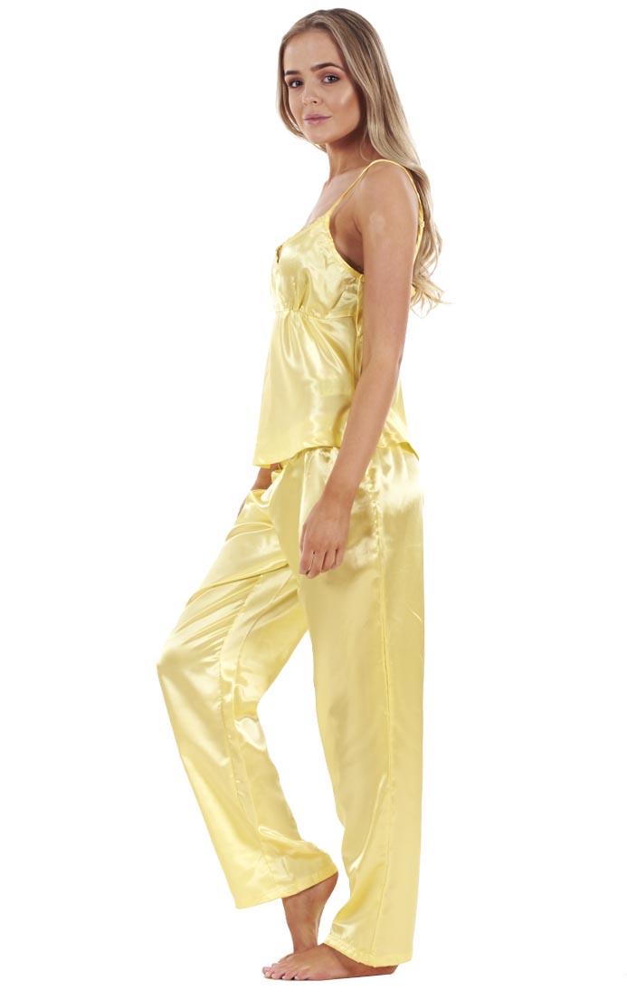 Ladies 3 Piece Pyjama Set Vest Lace Shorts Womens Satin PJ Nightwear