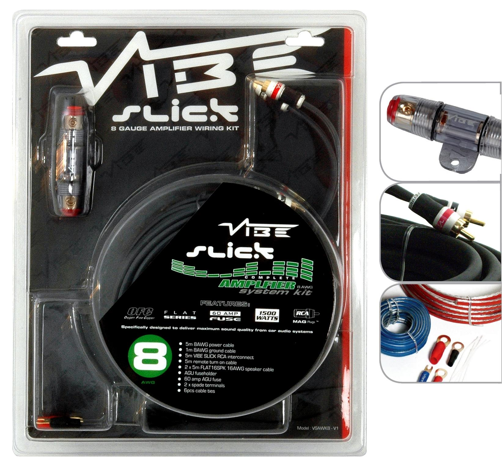 Vibe Slick 8 Gauge 1500W Amp Amplifier Wiring Kit / Sub Kit | eBay