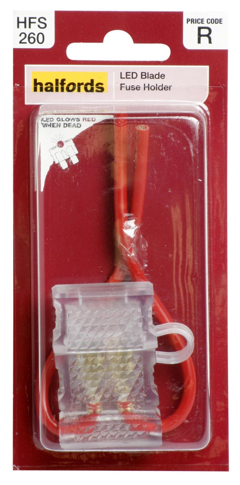 halfords led blade fuse holder crystalline shape red cable rh ebay co uk