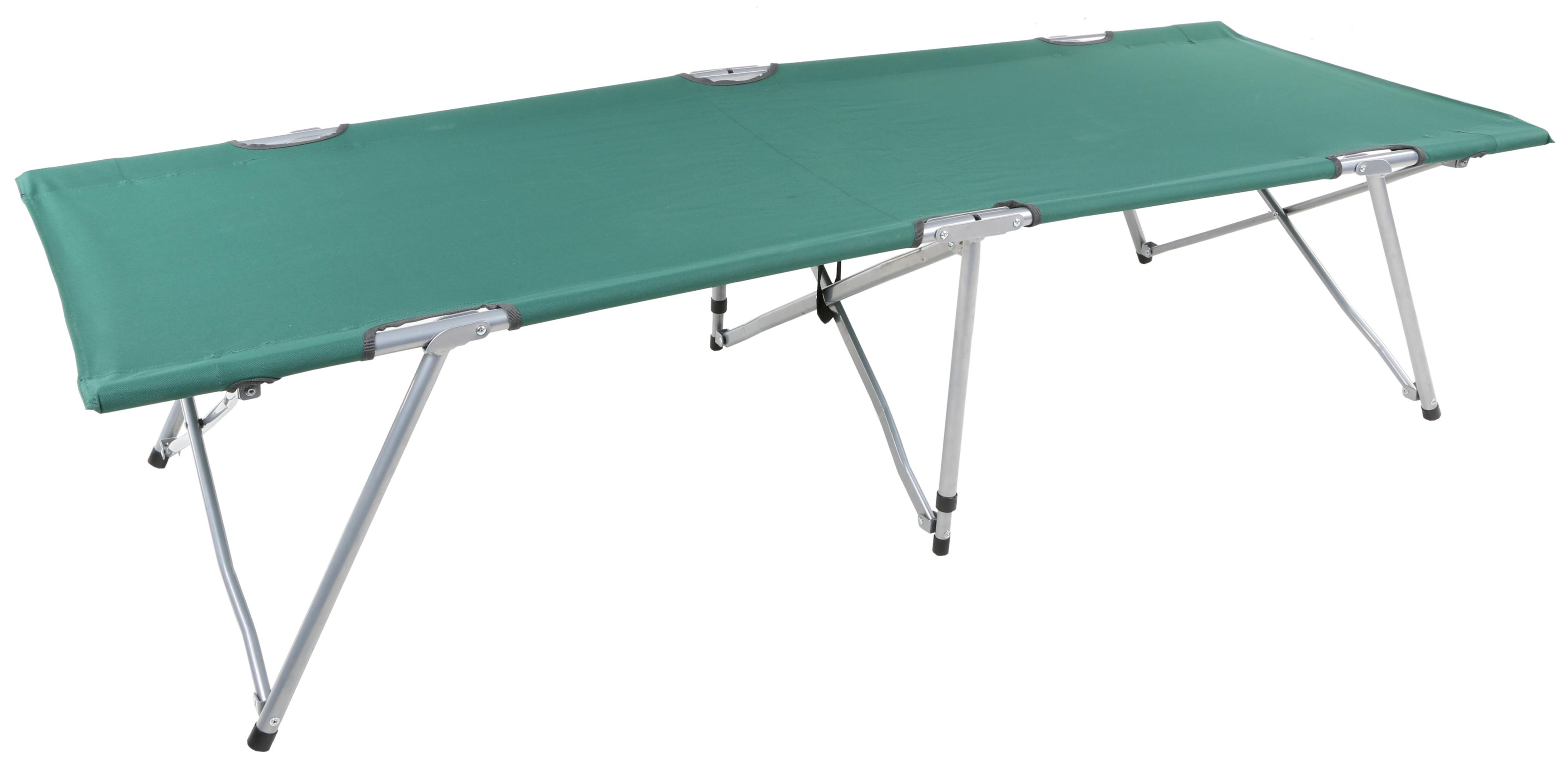urban escape easy fold camping bed green single steel frame polyester carry bag