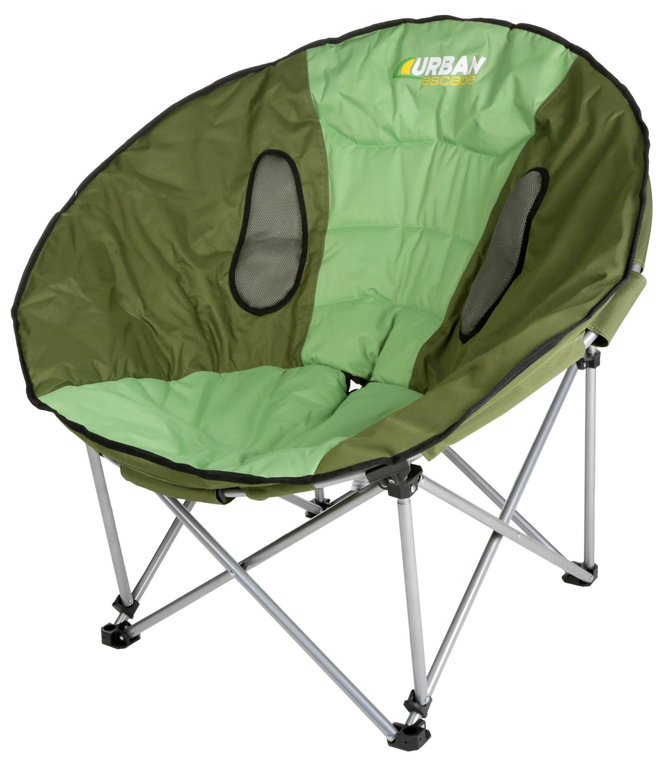 Urban Escape Moon Chair Green Steel Tube Foldable Comfort Camping ...